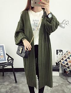 Simple Long Cardigan,Solid Black / Brown / Gray / Green V Neck Long Sleeve Wool Spring Medium Inelastic