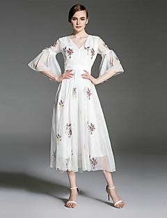 es Dannuo Gelegenheit Frauen Artkleider Art Kleid, Muster Ausschnitt Hülsenlänge Farbe Stoff Saison Kleidlänge