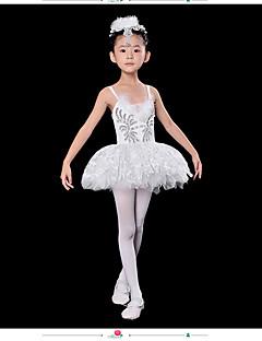발레 드레스 아동용 성능 스판덱스 레이스 1개 화이트 발레 민소매 높음 드레스