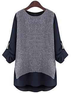 Langærmet Rund hals Medium Dame Blå Hvid Farveblok Forår Sofistikerede Plusstørrelser T-shirt,Polyester