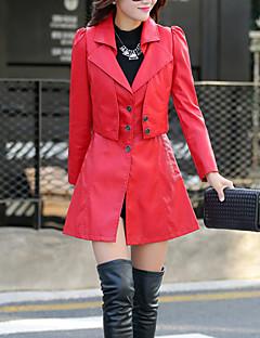 Casual/hétköznapi Utcai sikk Állógallér-Női Kožnate jakne,Egyszínű Ősz Hosszú ujjú Hosszú Poliuretán
