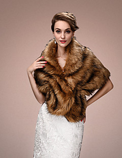 Women's Wrap Capelets Sleeveless Faux Fur Brown Wedding / Party/Evening V-neck 45cm Tiered Hidden Clasp