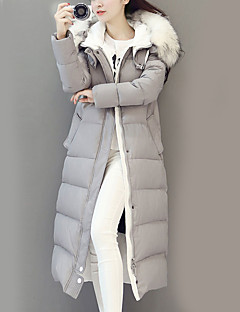Women's Long Padded Coat,Street chic Casual/Daily Solid-Nylon White Goose Down Long Sleeve Hooded Black / Gray