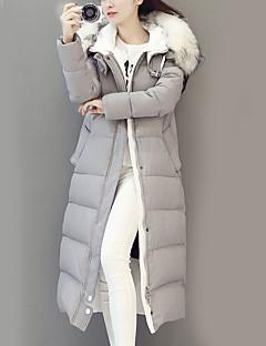 Long Padded Coat,Street chic Solid-Nylon White Goose Down Long Sleeve Hooded Black / Gray