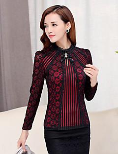 Vrouwen Vintage Herfst T-shirt,Uitgaan Effen Opstaand Lange mouw Rood / Beige / Zwart Katoen / Spandex Medium