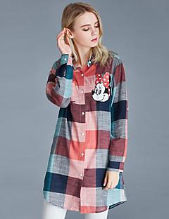 Mulheres Camisa Casual / Tamanhos Grandes Moda de Rua Primavera / Outono,Estampado Rosa / Verde Algodão Colarinho de Camisa Manga Longa