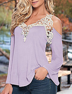 Women's Patchwork Lace Strap Off-The-Shoulder All Match Loose Casual V Neck Long Sleeve Plus Size T-shirt