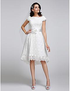 A-line Wedding Dress Asymmetrical Bateau Lace with Lace