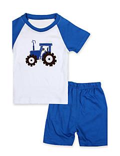 Drengens Tøjsæt / Nattøj Bomuld Patchwork Casual/hverdag Sommer Blå