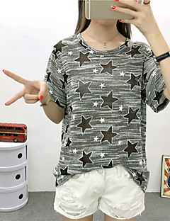 Women's Going out / Casual/Daily chic Spring / Summer T-shirt,Galaxy Round Neck Short Sleeve Gray Cotton Medium