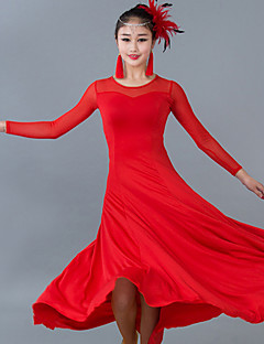 Ballroom Dance Dresses Women's Performance Tulle / Milk Fiber Ruched 1 Piece Black / Blue / Fuchsia / Red Long Sleeve