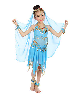Belly Dance Outfits Children's Performance Satin Gold Coins 7 Pcs Fuchsia / Light Blue / Purple / Royal Include Anklets
