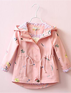 Girl's Casual/Daily Print Trench Coat,Cotton Spring / Fall Blue / Pink