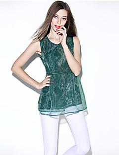 여성의 솔리드 라운드 넥 민소매 블라우스,심플 캐쥬얼/데일리 블루 / 그린 폴리에스테르 여름 얇음
