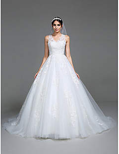 Lanting Bride® A-line Wedding Dress Chapel Train V-neck Tulle with Appliques