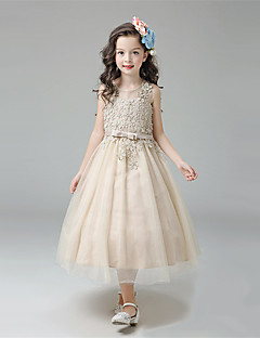 Ball Gown Tea-length Flower Girl Dress - Cotton / Satin / Tulle Sleeveless Jewel with Bow(s) / Lace