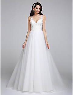 Lanting Bride A-line Wedding Dress Court Train V-neck Tulle with Appliques