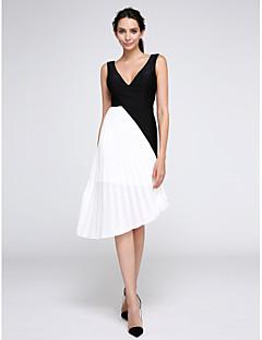 TS Couture Soirée Cocktail Promo Robe - Couleur Pleine Trapèze Col en V Mi-long Mousseline de soie Jersey avec Pan drapé