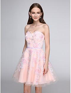 TS Couture 칵테일 파티 프롬 드레스 - 레이스-업 A-라인 스윗하트 숏 / 미니 튤 와 아플리케