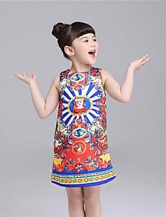 Mädchen Kleid-Lässig/Alltäglich Druck Baumwolle Sommer Blau