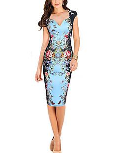 Women's Work Sexy DressPrint Sweetheart Knee-length Sleeveless Polyester Summer Mid Rise Micro-elastic Medium