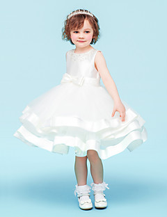 Ball Gown Knee-length Flower Girl Dress - Tulle Sleeveless Jewel with Beading / Bow(s)