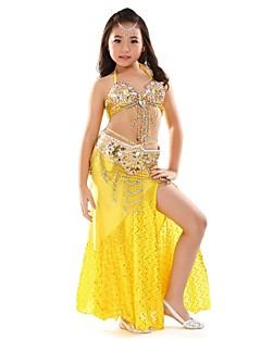 Dança do Ventre Roupa Crianças Actuação Chiffon Lantejoulas Frente Dividida 3 Peças Sem Mangas Caído Saia Topo Cinto 75