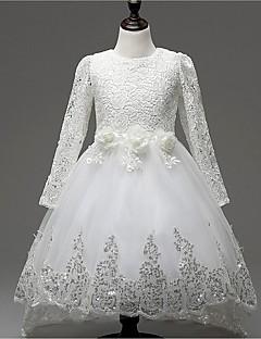 Mädchen Kleid-Ausgehen einfarbig Baumwolle / Polyester Ganzjährig Weiß