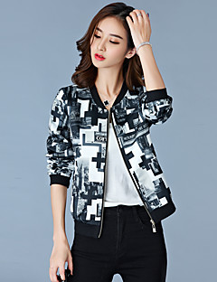 Women's Going out / Fall Blazer,Print Round Neck Long Sleeve White / Black Polyester Medium
