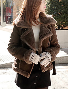 Women's Solid Black / Brown Padded Coat,Simple Shirt Collar Long Sleeve