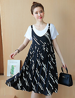 Maternity Going out / Casual/Daily Cute Loose Dress,Print Round Neck Knee-length Black Cotton / Polyester Summer