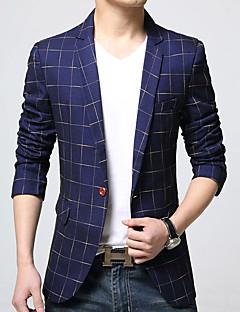 Men's Plaid Casual / Work Blazer,Cotton / Acrylic / Polyester Long Sleeve Blue / Brown 916348