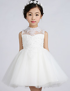 A-line Short / Mini Flower Girl Dress - Tulle Sleeveless High Neck with Lace / Pearl Detailing