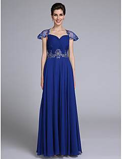 Lanting Bride A-line Mother of the Bride Dress Floor-length Short Sleeve Chiffon with Appliques / Criss Cross