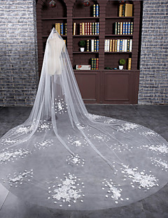 Wedding Veil One-tier Cathedral Veils Cut Edge Tulle Ivory
