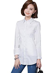 Mulheres Camisa Casual / Tamanhos Grandes Simples Primavera / Outono,Sólido Branco Algodão / Poliéster Colarinho de Camisa Manga Longa