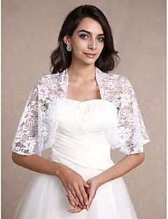 Women's Wrap Shrugs Half-Sleeve Lace White Wedding Party/Evening Casual Scoop 30cm Lace Open Front