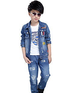 Boy's Cotton Spring/Autumn Fashion Print Long Sleeve Denim Jacket Coat And Jeans Pants Two-piece Set