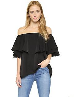 Kortærmet Bateau-hals Medium Kvinders Sort Ensfarvet Sommer Simpel Casual/hverdag T-shirt,Polyester