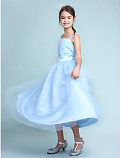 Lanting Bride® Tot de knie Satijn / Tule Junior bruidsmeisjesjurk Baljurk Bandjes Naturel metKralen / Drapering / Gerimpeld / Sjerp /
