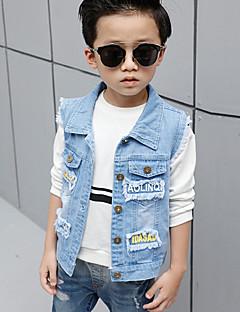 Boy's Cotton Spring/Autumn Fashion Cartoon Print Sleeveless Cowboy Vest Outerwear Denim Jacket Coat