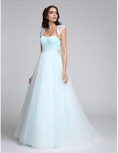 Lanting Bride® Trapèze Robe de Mariage  Traîne Brosse Coeur Tulle avec Appliques / Strass