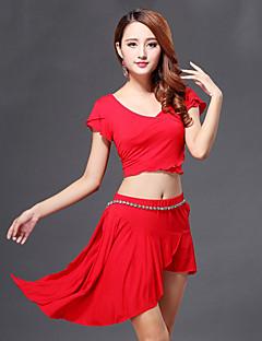 ריקוד בטן תלבושות בגדי ריקוד נשים ביצועים כותנה עטוף 3 חלקים שרוול קצר טבעי חצאית / עליון / שורטיםSuitable Weight