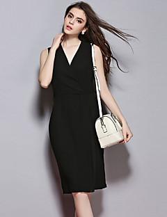Sybel Frauen Ausgehen / simple / Straße schicken Etuikleid, fest mit V-Ausschnitt knielangen ärmel schwarzen Polyester