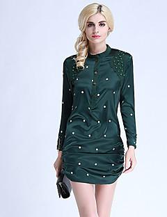 Damen Hülle Kleid-Ausgehen Niedlich Punkt Rundhalsausschnitt Übers Knie Langarm Schwarz Seide Frühling Hohe Hüfthöhe Mikro-elastisch Dünn