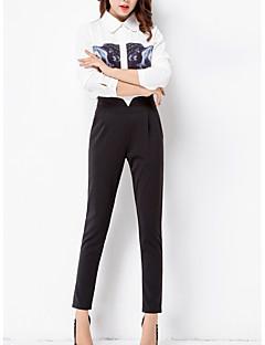 Women's Solid Black Harem Pants,Simple