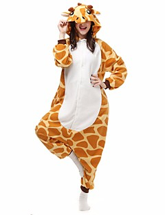 Kigurumi Pajamas Giraffe Bat Leotard/Onesie Festival/Holiday Animal Sleepwear Halloween Yellow Geometric Animal Print Flannel Kigurumi For