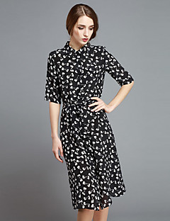Damen Hülle Kleid-Ausgehen Niedlich Druck Hemdkragen Knielang Kurzarm Schwarz Seide Frühling Mittlere Hüfthöhe Mikro-elastisch