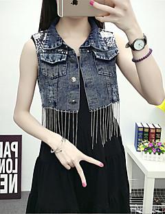 Women's Casual/Daily Simple Summer Denim Jackets,Solid Shirt Collar Sleeveless Blue Polyester Medium