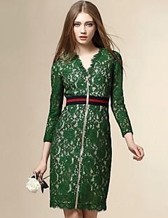 Engel Frauen geht aus Straße schicke Etuikleid, Patchwork V-Ausschnitt über dem Knie ¾ Ärmel grün Polyester fallen